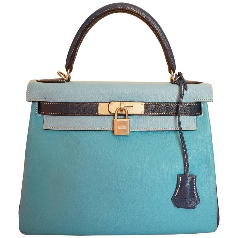 3 colors Hermes Kelly 28 Bag with Shoulder Strap. at 1stdibs