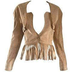 Vintage Jean Claude Jitrois 1990s Tan Beige Leather Suede Fringe Bustier Jacket