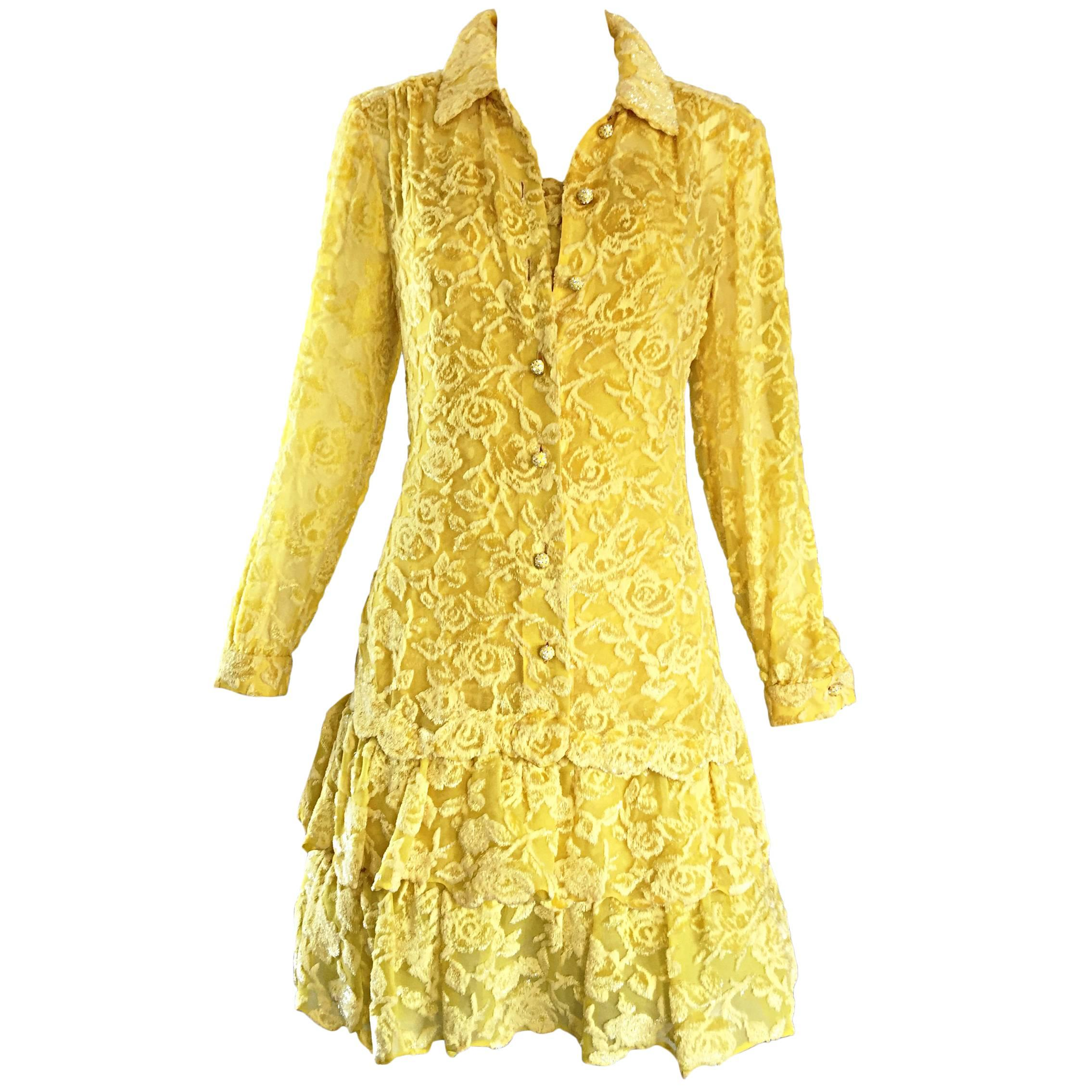 James Galanos Vintage Canary Yellow Silk + Velvet Burn Out Dress and Blouse