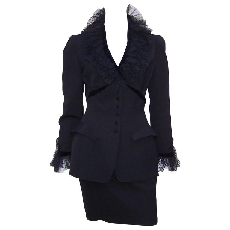 1980's Thierry Mugler Black Evening Suit With Velvet & Netting Details