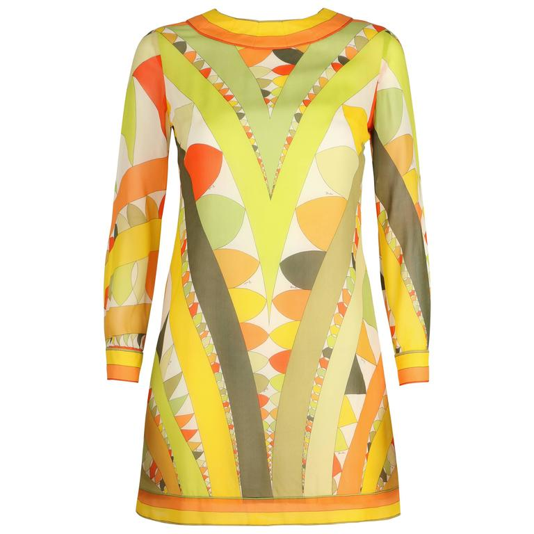 EMILIO PUCCI 1960s Lime Green Citrus Signature Print Long Sleeve Silk Dress Sz 6 For Sale