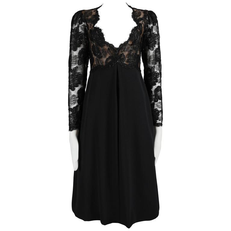 Yves Saint Laurent Haute Couture black lace cocktail dress, circa 1979 1