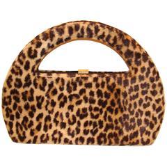 Large Architectural Faux Leopard Handbag Clutch