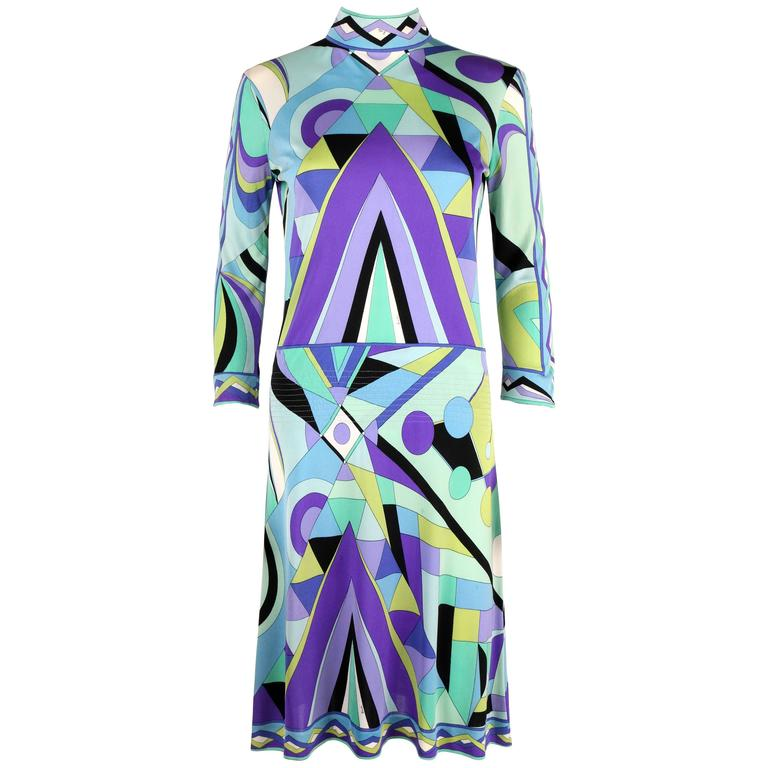EMILIO PUCCI 1960s Multi-Color Signature Print Silk Jersey Mod Dress Size 8