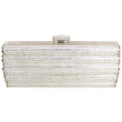 Judith Leiber Pave Crystal Miniaudiere Clutch Bag w/ Shoulder Chain