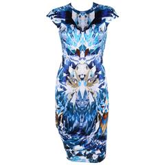 ALEXANDER McQUEEN S/S 2009 Iconic Blue Crystal Kaleidoscope Print Dress 38