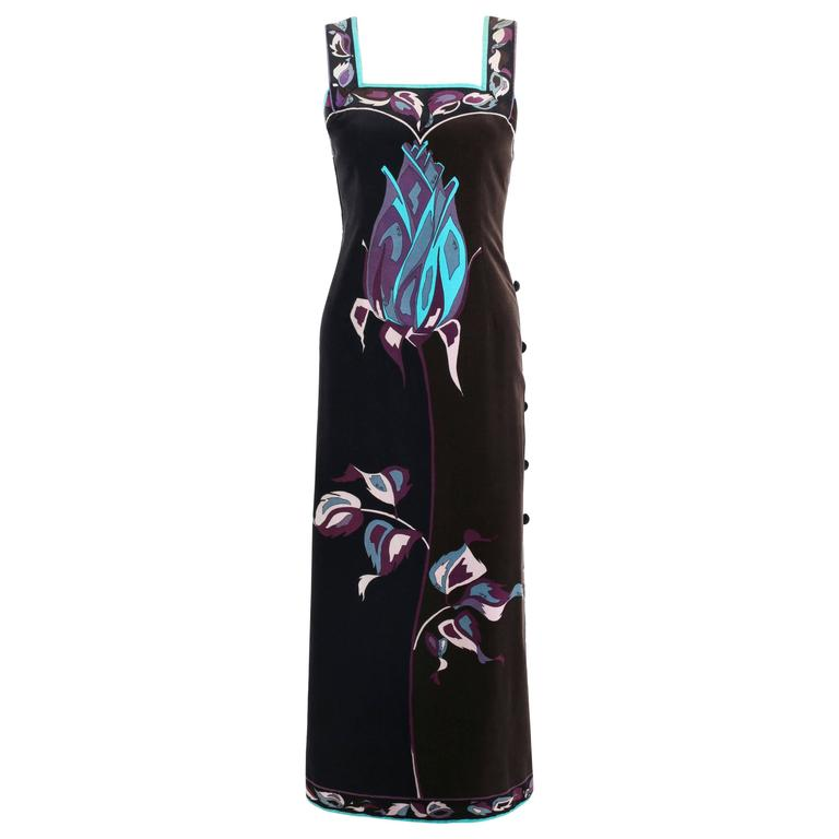 EMILIO PUCCI 1960s Multicolor Rose Print Sleeveless Velvet Maxi Dress Size 10