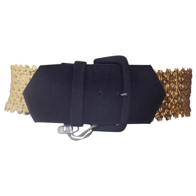 Emanuel Ungaro Black gold sequins belt 1