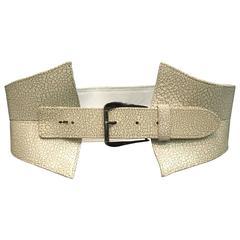 Oscar de la Renta Ivory Crackle Leather Sculpted Wide Belt