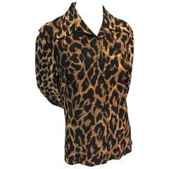 1960s Marchesa di Grésy Wool Knit Leopard Print Button-Down Blouse - I. Magnin
