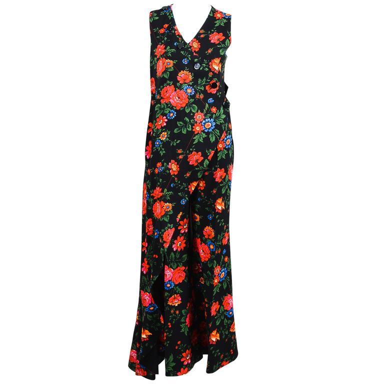 Celine Black Multicolor Crepe Floral Draped Layered ...
