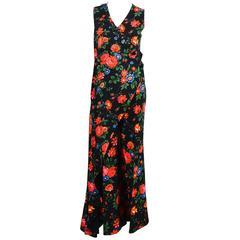 Celine Black Multicolor Crepe Floral Draped Layered Pantsuit Size 38