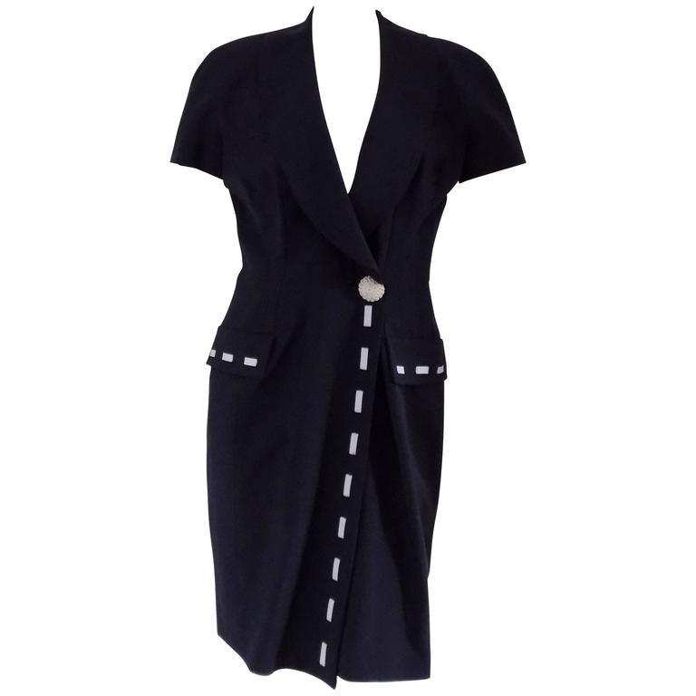 1970s Fendi blu white dress
