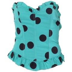 Fiorucci light green black pois corset