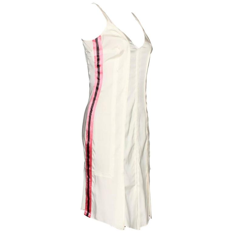 Unique Gucci by Tom Ford SS 2004 Pleated Powder Silk Dress with Stripes