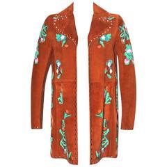 Valentino Suede Jacket Floral Appliqué Motif - Collector Item - Pristine Cond.