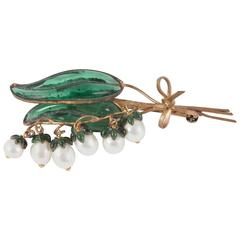 Iconic 'Lily Of The Valley' (Muguet) articulated brooch, Christian Dior, 1950s