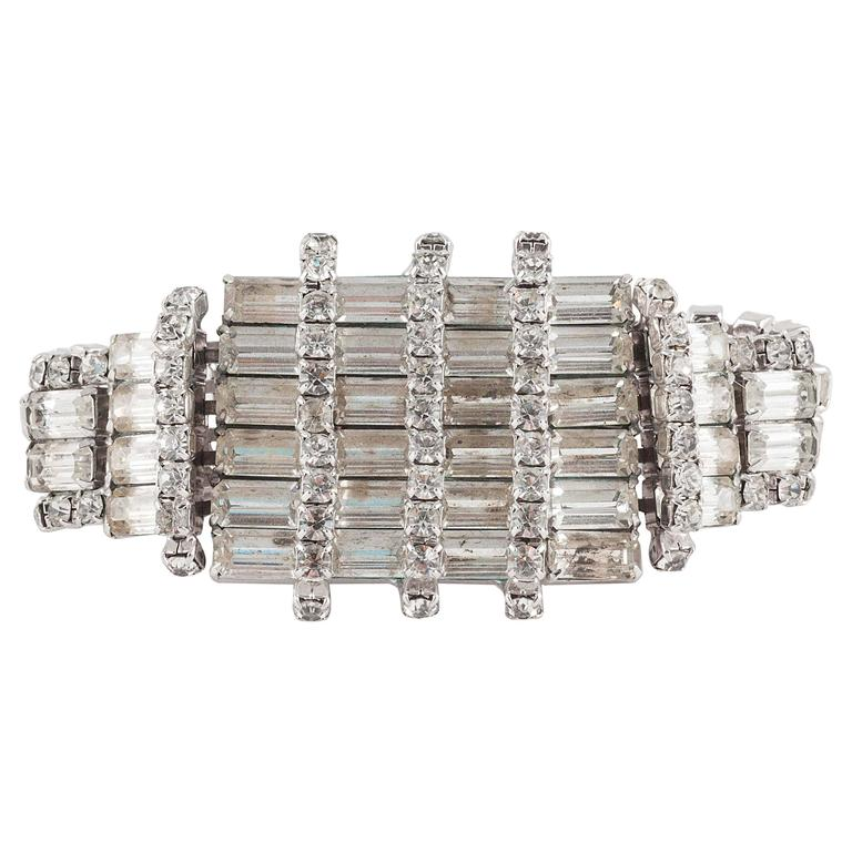 Wonderfully architectural rhodium plated rhinestone cocktail bracelet, 1950s  For Sale