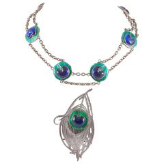 Silver and enamel necklace and buckle attributed to Piel Freres Paris
