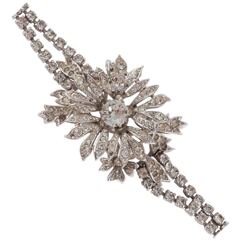 Rare paste 'en tremblant' flower bracelet by Christian Dior 1
