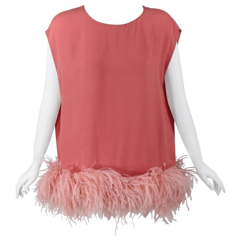 Dries Van Noten Pink Crepe Feather Trim Tunic Top Fall Winter 2013/2014 Runway For Sale