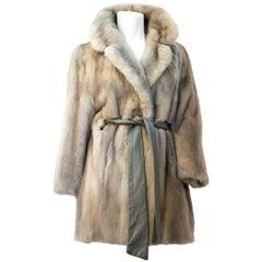 Grey Mink 3/4 Length Belted Coat
