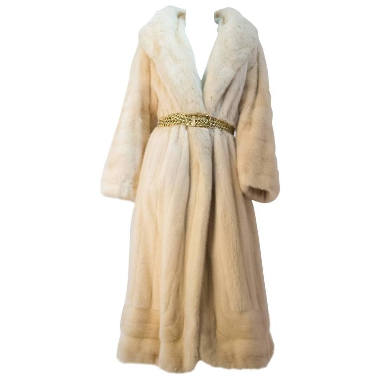 Full Length Cream Mink Fur Coat With Unusual Large Framing Collar