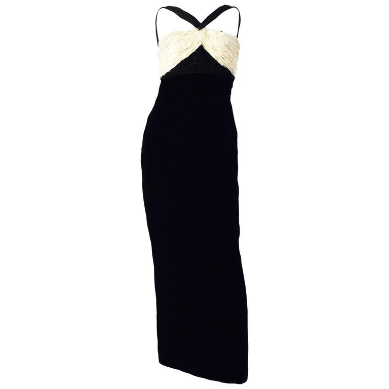80s Valentino Black Velvet Column Gown with Rouched Cream Bodice