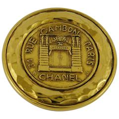 "Chanel Vintage Gold Tone ""31 Rue Cambon Paris"" Coin Brooch"