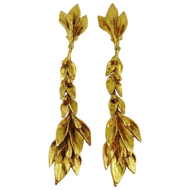 Yves Saint Laurent YSL Vintage Floral Shoulder Duster Dangling Earrings For Sale