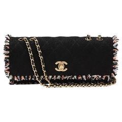 2000s Chanel Black & Multi Tweed East West Classic Single Flap Bag
