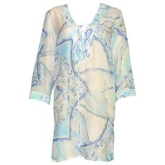 Emilio Pucci Signature Print Silk Voile Kaftan Tunic Dress
