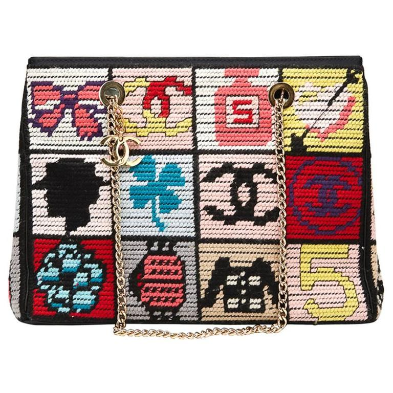 2000s Chanel Multicolour Patchwork Woven Fabric Timeless Shoulder Bag For Sale