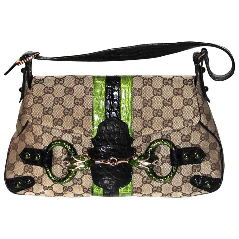 777ba10c274853 GUCCI by Tom Ford Limited Edition Monogram Jewelled Snake Head Shoulder Bag  For Sale