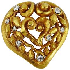 Christian Lacroix Vintage Openwork Heart Brooch Limited Edition X-mas 91