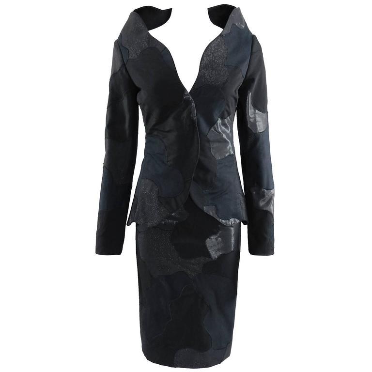 Alexander McQueen 2004 Black Patchwork Skirt Suit - Stand up Collar 1