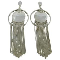 Jean Paul Gaultier Vintage Sterling Silver Fringed Hoop Dangling Earrings