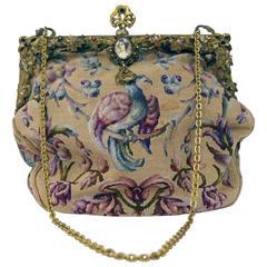 Antique Art Nouveau 1920s 1930s Tapestry Petit Point Purse