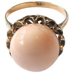 1950's Pale Coral 14 Karat Gold Ring