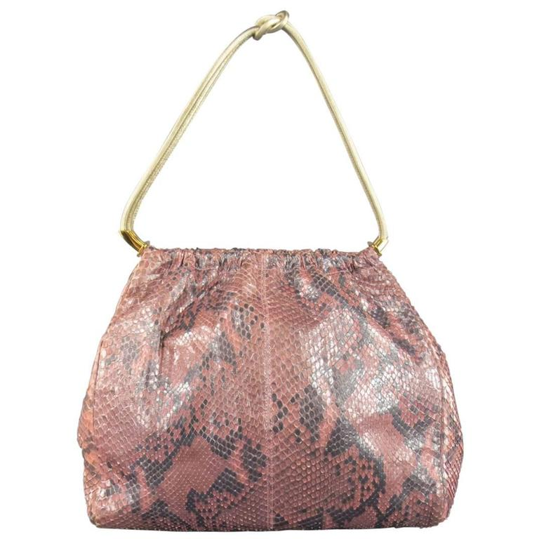 GIANNI VERSACE Metallic Pink Python Gold Leather Knot Handle Bag For Sale
