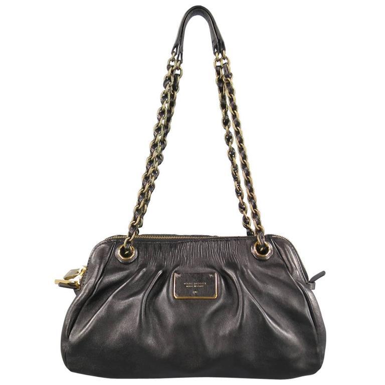 MARC JACOBS Black Gathered Leather Gold Chain Handbag 1