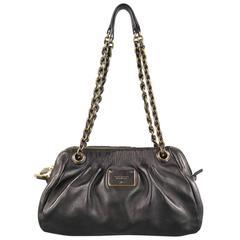 MARC JACOBS Black Gathered Leather Gold Chain Handbag