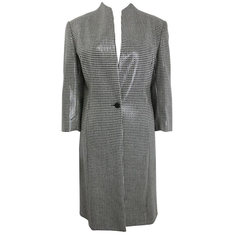 Anteprima Black and White Houndstooch Wool Long Coat  For Sale