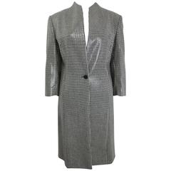 Anteprima Black and White Houndstooch Wool Long Coat