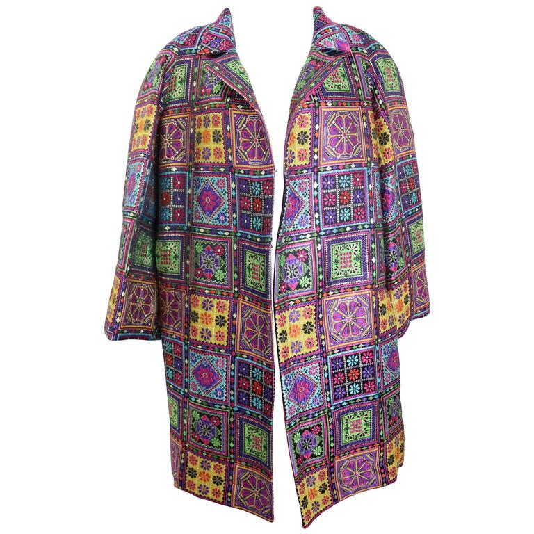 Christian Lacroix Embroidered Multicoloured Floral Prints Clutch Coat