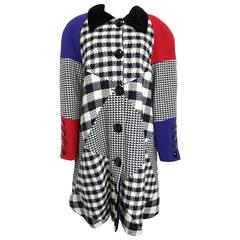 Roccobarocco Colour Blocked with Check Patterns Balmacaan Coat