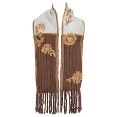 Dries van Noten Runway Shearling Trim Embroidered Scarf , Fall 2002