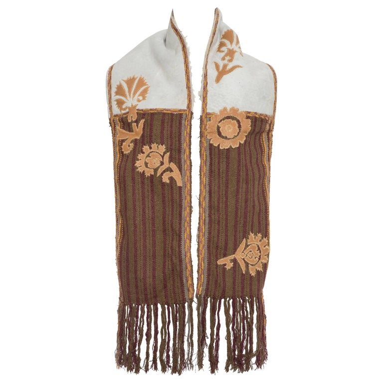 Dries van Noten Runway Shearling Trim Embroidered Scarf , Fall 2002 For Sale