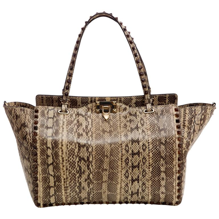 a72623f4ad2 Valentino Rockstud Snakeskin Medium Trapeze Bag For Sale at 1stdibs