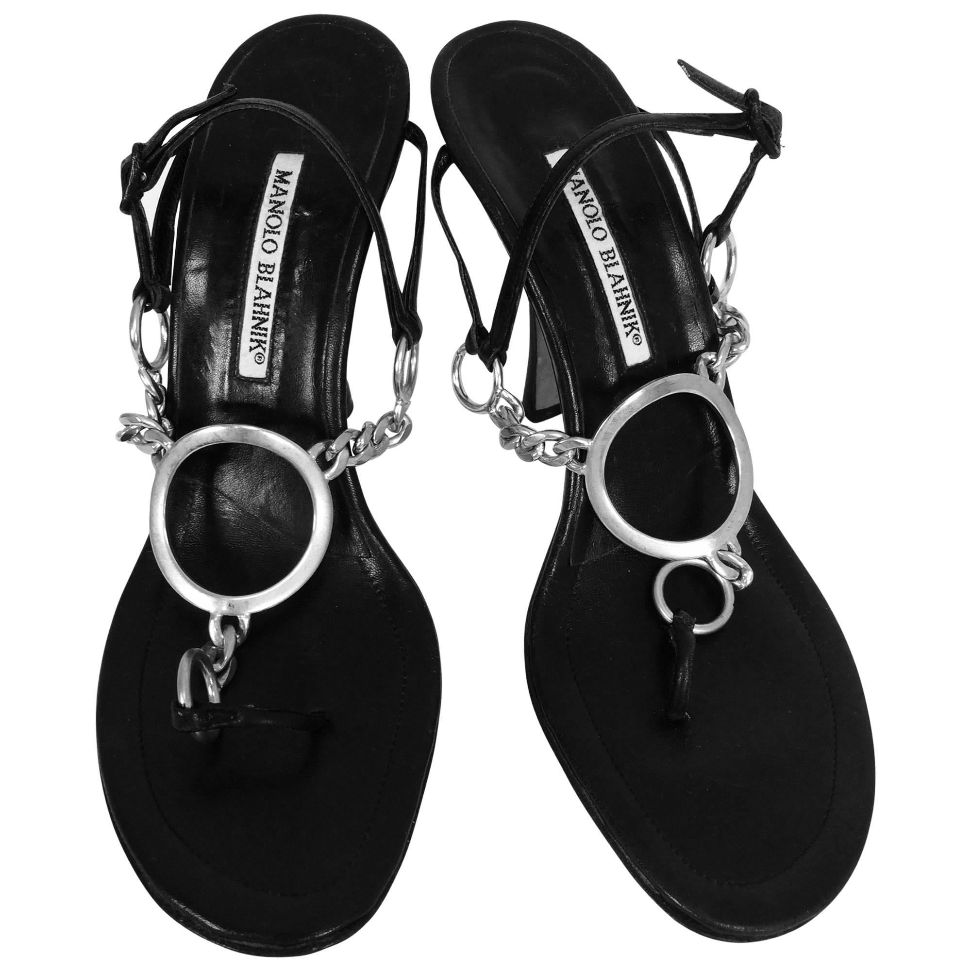bb2f094abd79b Manolo Blahnik silver ring and chain black leather high heel thong sandals  40 For Sale at 1stdibs